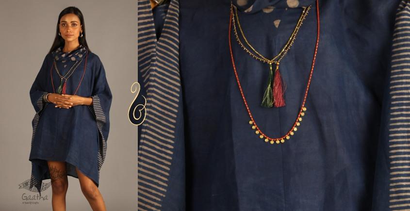 Indigo Collection | Linen kaftan with cowl neck | 09