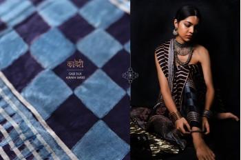 Kaveri . कावेरी | Gajji Silk Ajrakh Saree with Zari Pallu