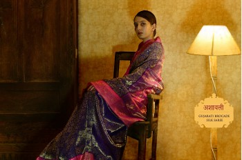 Ashaavali | अशावली ⁂ Gujarati Brocade ⁂ Silk Saree