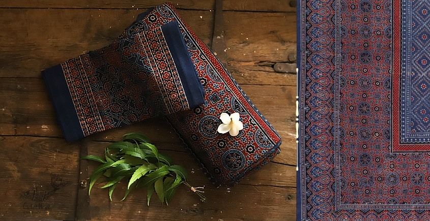 buy Traditional ajrakh block print bedsheet