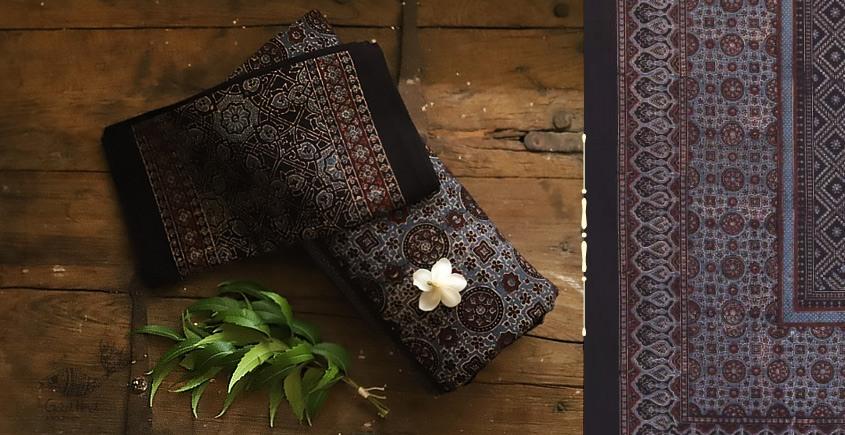 buy Traditional ajrakh block print Black bedsheet