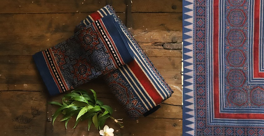 buy Traditional ajrakh block print  Blue  bedsheet