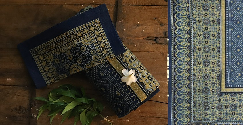 buy Traditional ajrakh block print bedsheet - Indigo color