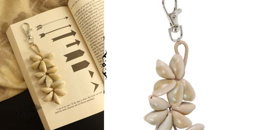 shop online handmade cowrie jute hand bag charm / key chain