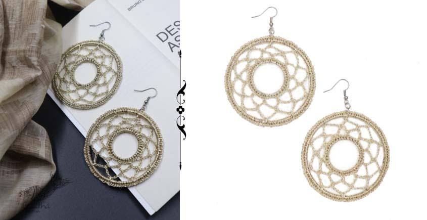 shop online handmade Golden Round Crochet Earring