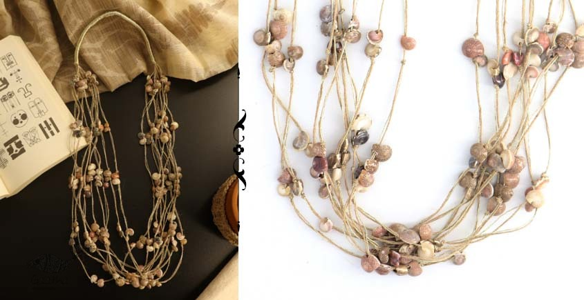 shop online handmade Layered Jute And Sea Shell Necklace