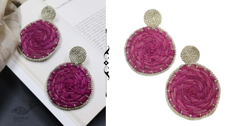 shop online handmade Pink Sabai Grass Zari Earring