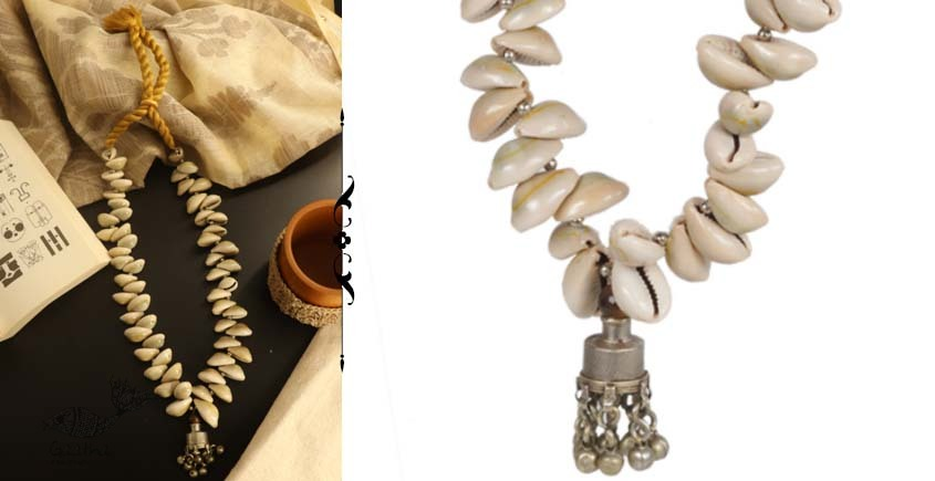 shop online handmade tribal Cowrie And Repurposed Metal Necklace