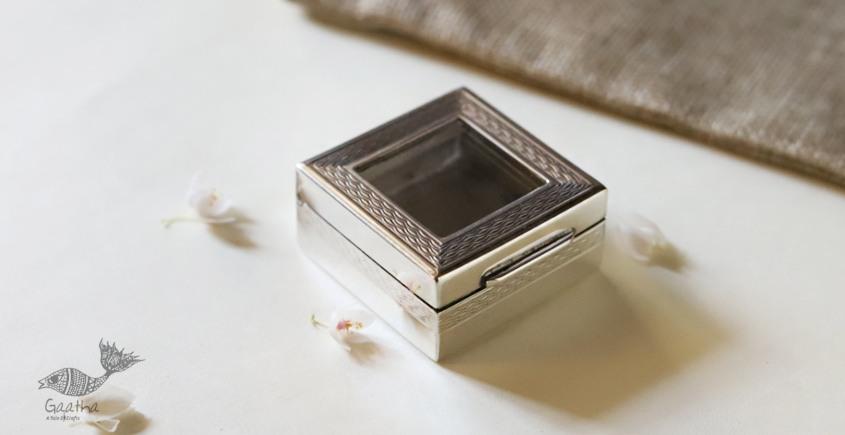 रजत ❧ | Silver Square box - Small - Transparent Top | 6