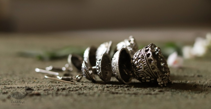 धरा ✽ Antique Finish White Metal ✽ Earring { 1A }