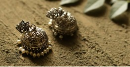 धरा ✽ Antique Finish White Metal ✽ Earring { 2 }