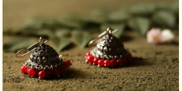 धरा ✽ Antique Finish White Metal ✽ Earring { 5 }