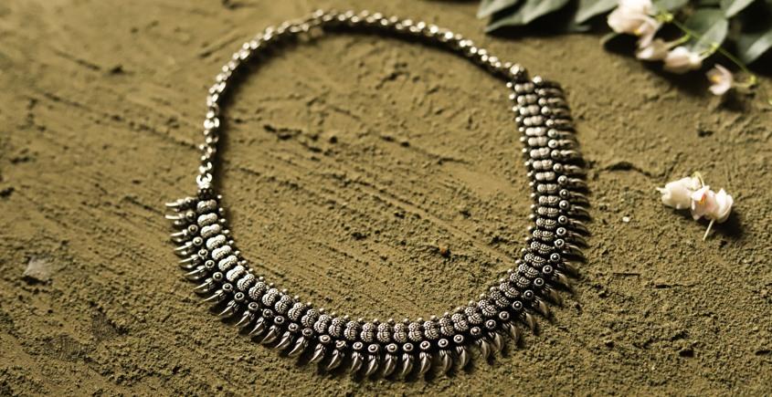 धरा ✽ Antique Finish White Metal ✽ Necklace { 32 }