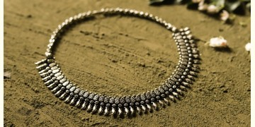 धरा ✽ Antique Finish White Metal ✽ Necklace { 35 }