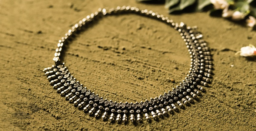 धरा ✽ Antique Finish White Metal ✽ Necklace { 38 }
