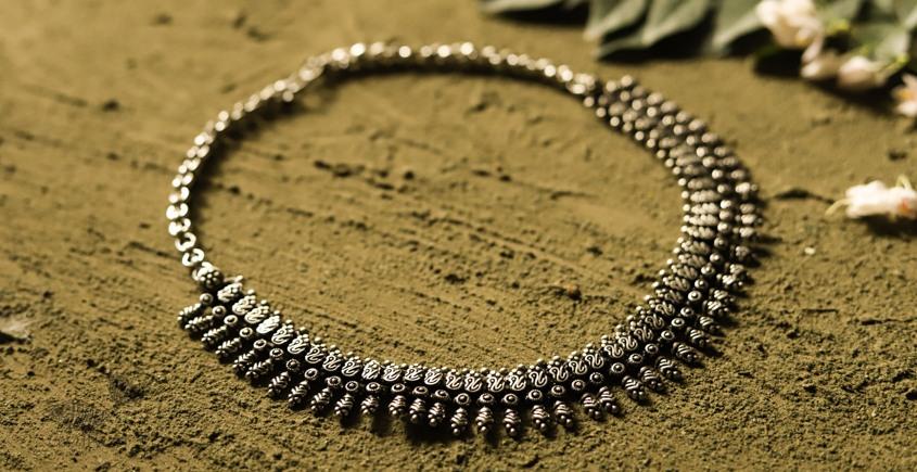 धरा ✽ Antique Finish White Metal ✽ Necklace { 39 }
