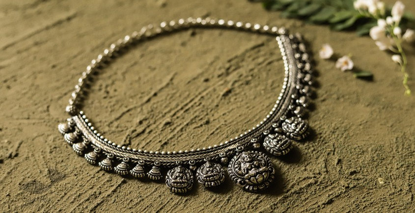 धरा ✽ Antique Finish White Metal ✽ Necklace { 51 }