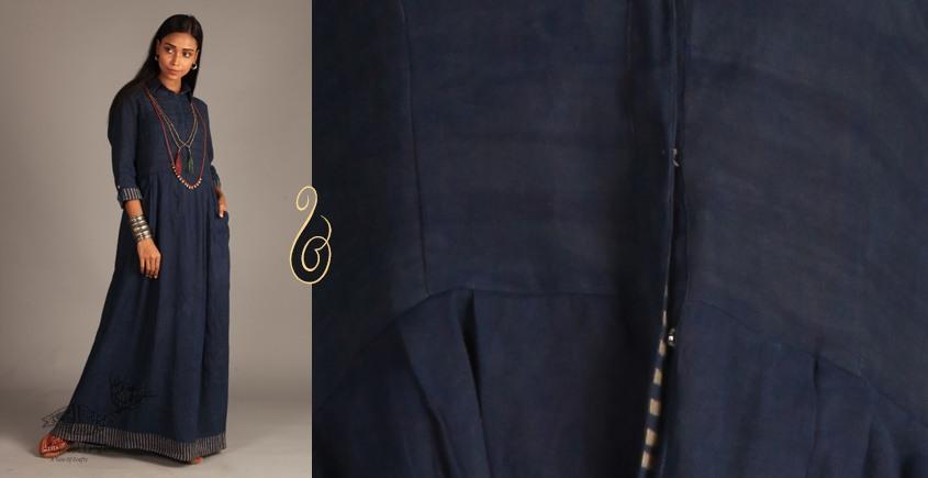 Indigo Collection | Linen maxi front open dress  | 13