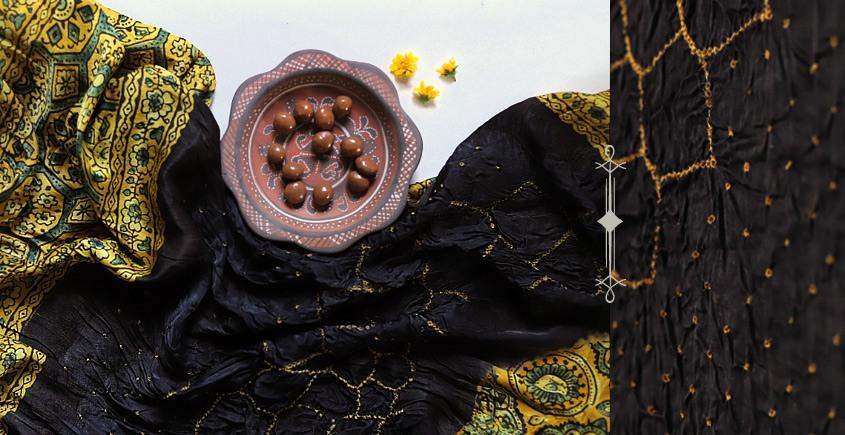 Flavors of fusion | Modal Silk Ajrakh Bandhani Dupatta ❀ 11
