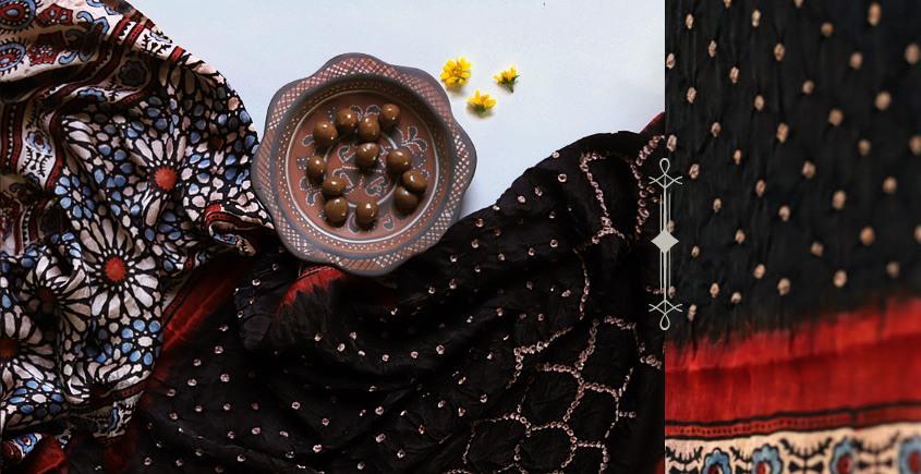 Flavors of fusion   Modal Silk Ajrakh Bandhani Dupatta ❀ 12