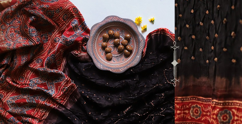Flavors of fusion | Modal Silk Ajrakh Bandhani Dupatta ❀ 14