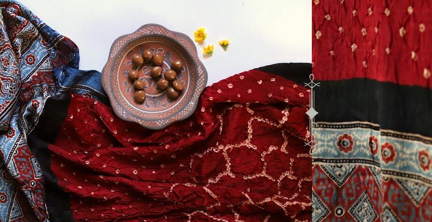 Flavors of fusion   Modal Silk Ajrakh Bandhani Dupatta ❀ 17