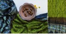 ajrakh bandhni dupatta with tassar daman - green and blue