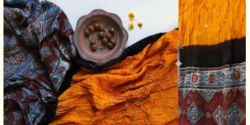 Flavors of fusion | Modal Silk Ajrakh Bandhani Dupatta ❀ 20