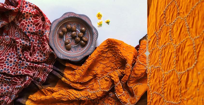 Ajrakh Bandhani Dupatta -yellow red
