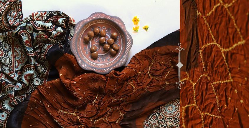 Silk Ajrakh Bandhani  deep orange