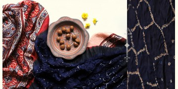 Flavors of fusion | Modal Silk Ajrakh Bandhani Dupatta ❀ 5