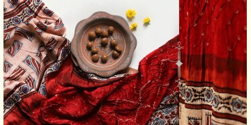 Flavors of fusion | Modal Silk Ajrakh Bandhani Dupatta ❀ 7
