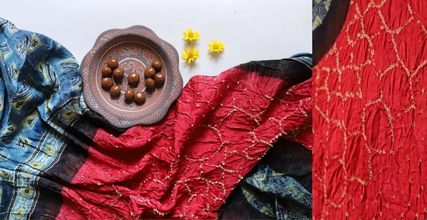 ajrakh bandhni dupatta with tassar daman add this in your collection