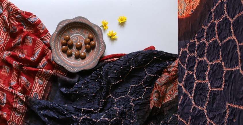 ajrakh bandhni dupatta with tassar daman - red and nevy blue color