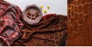 ajrakh bandhni dupatta with tassar daman - in  brown and red color