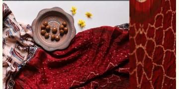 Flavors of fusion | Modal Silk Ajrakh Bandhani Dupatta ❀ 32