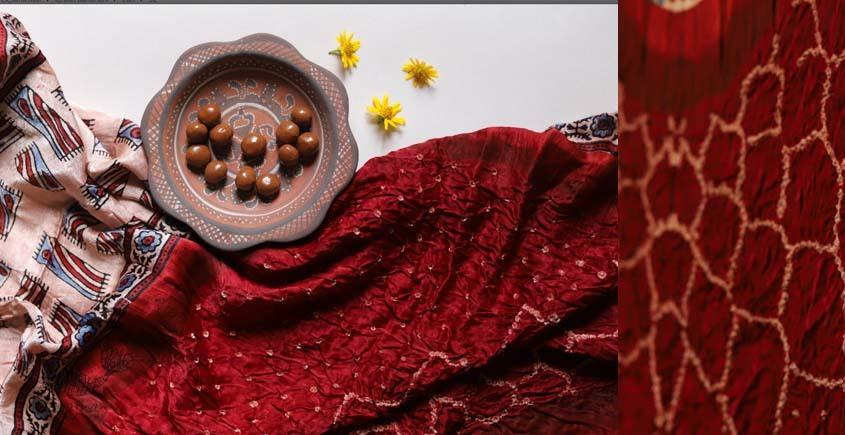 Flavors of fusion   Modal Silk Ajrakh Bandhani Dupatta ❀ 32