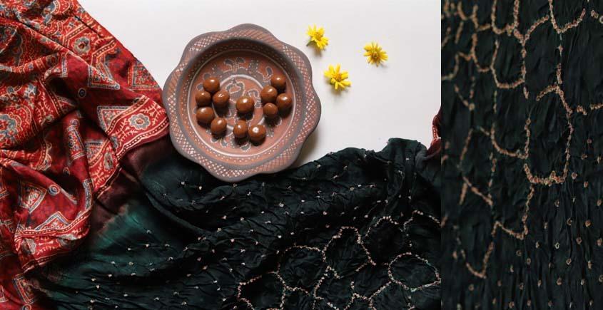 Flavors of fusion | Modal Silk Ajrakh Bandhani Dupatta ❀ 34