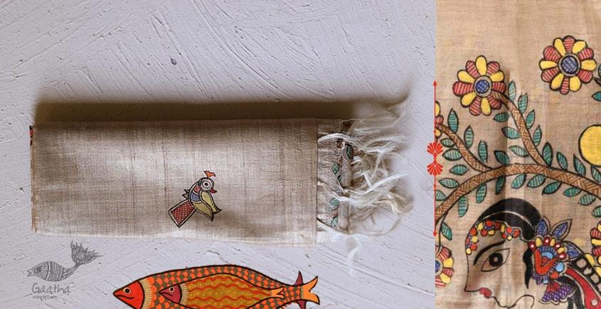 Madhubani ❁ Tussar Silk Hand Painted Dupatta ❁ 2