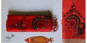 Madhubani ❁ Raw Silk Hand Painted Dupatta ❁ 7