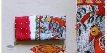 Madhubani ❁ Bandhni Hand Painted Silk  Dupatta ❁ 8