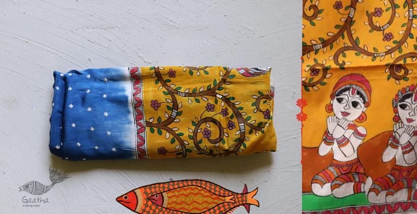 Madhubani ❁  Bandhni Hand Painted Silk  Dupatta ❁ 9