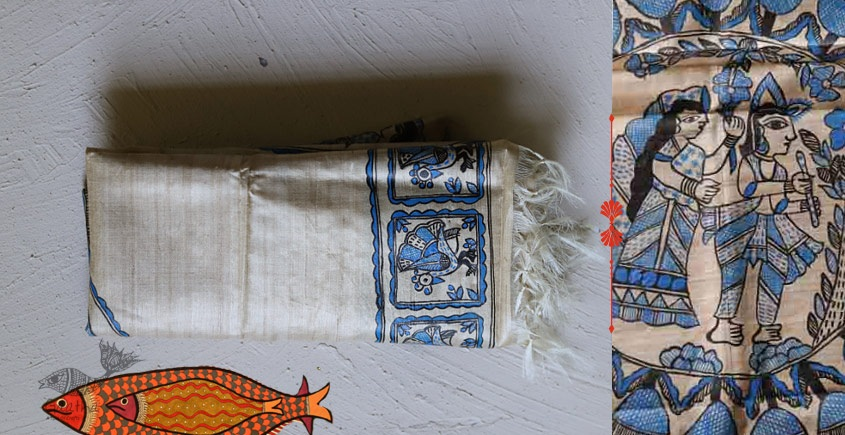 shop online tussar Silk madhubani Dupatta