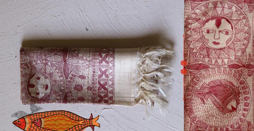 Madhubani ❁ Tussar Silk Hand Painted Dupatta ❁ 12