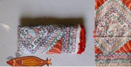 Madhubani ❁  Bandhni Hand Painted Silk  Dupatta ❁ 14