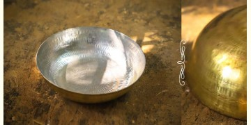 "Brass Kadai with Tin coating (Medium Without Handle - 9.5"" X  9.5"" x 3"")"