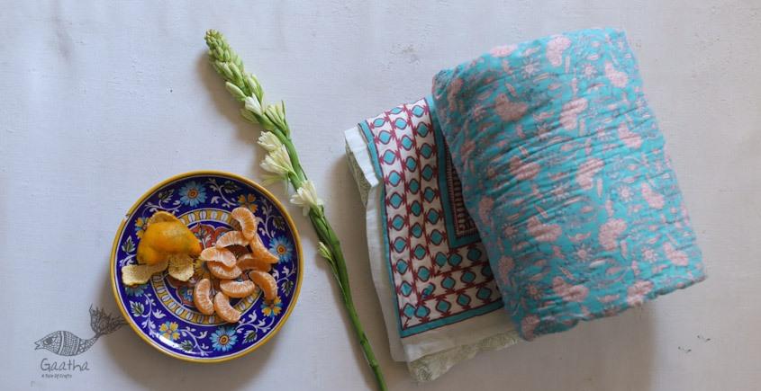 buy Single Bed Sanganeri Block Printed Jaipuri Quilt - in kay blue