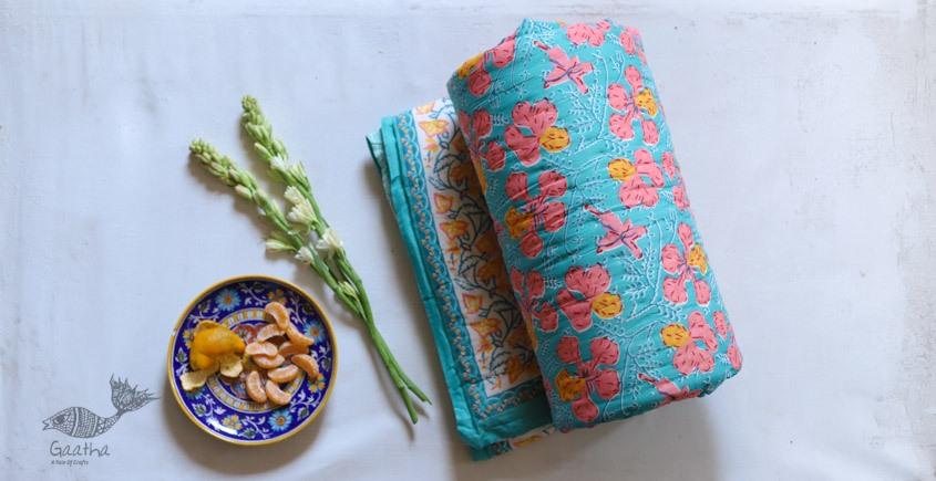 Buy  Jaipuri Razai - Double Bed Sanganeri Block Printed in sky blue color