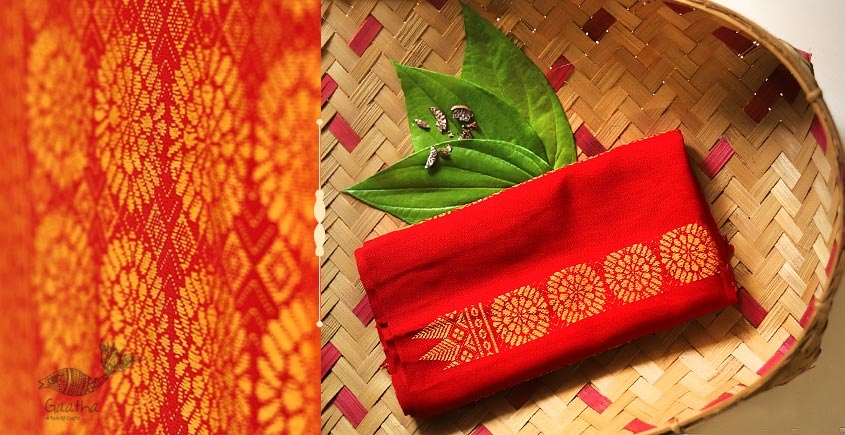 Handwoven Cotton Stole - red color