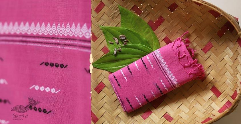 Handwoven Cotton Stole - pink color